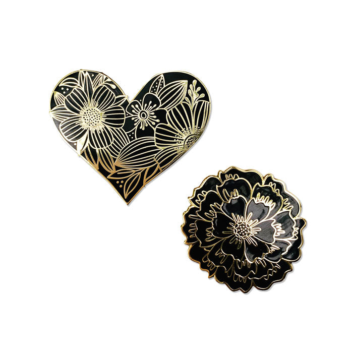 Set of 2/Floral Heart  and Bloom Pin - kathryncole
