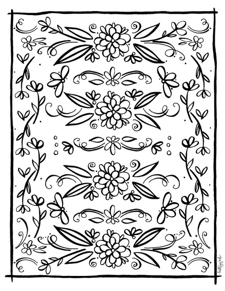 Floral Coloring Page Art Print Download - kathryncole
