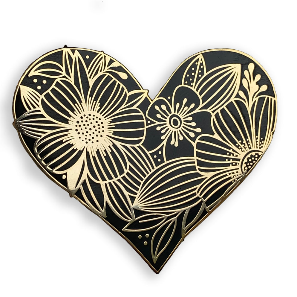 Floral Heart Pin - kathryncole