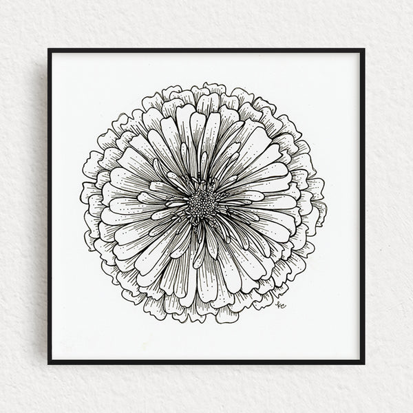 Zinnia Flower Original Art, no. 6
