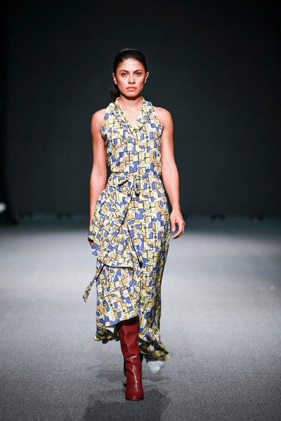 Cubist Long Halter Dress - Shantall Lacayo