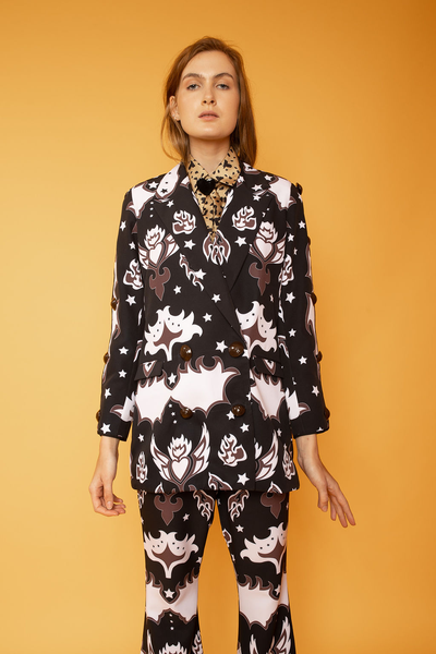 Abstract Print Irregular Blazer