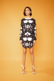 Abstract Print Long Sleeve Irregular Dress - Shantall Lacayo