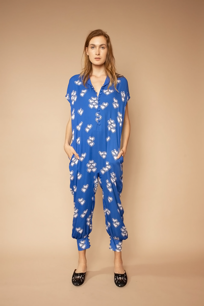 Blue Heart Print Jumpsuit