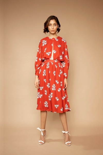 Heart Print Long Sleeve Midi Dress - Shantall Lacayo