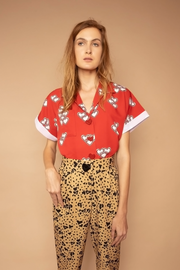 Heart Print Button up Short Sleeve Shirt - Shantall Lacayo