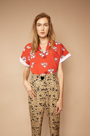 Heart Print Button up Short Sleeve Shirt