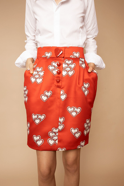 Hearts Print Satin Skirt