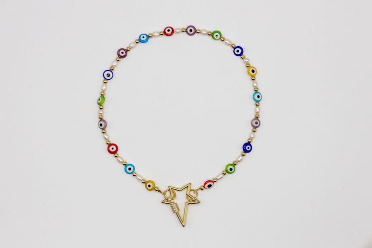 Beaded eyes Chain with heart crystal star Carabiner Necklace - Shantall Lacayo