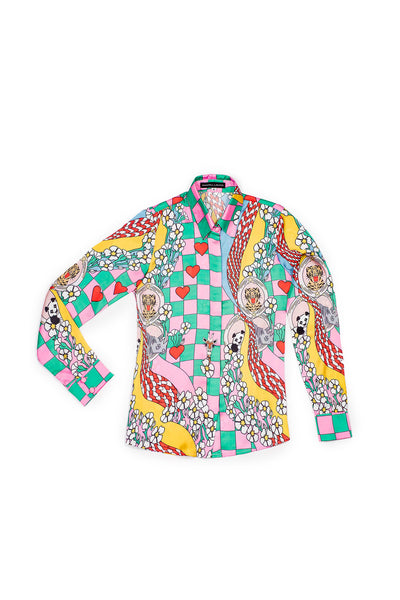 Classic Button Up Shirt One Of a Kind Print - Shantall Lacayo