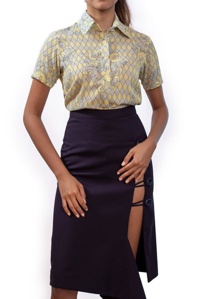 Giacomo Yellow Short Sleeve Top - Shantall Lacayo