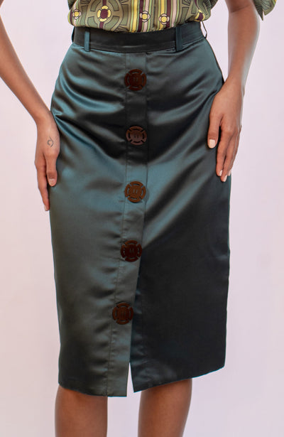 Green Satin Pencil Skirt - Shantall Lacayo