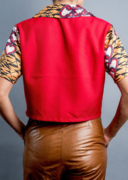 Gold tiger print  Button-Up Crop Top - Shantall Lacayo