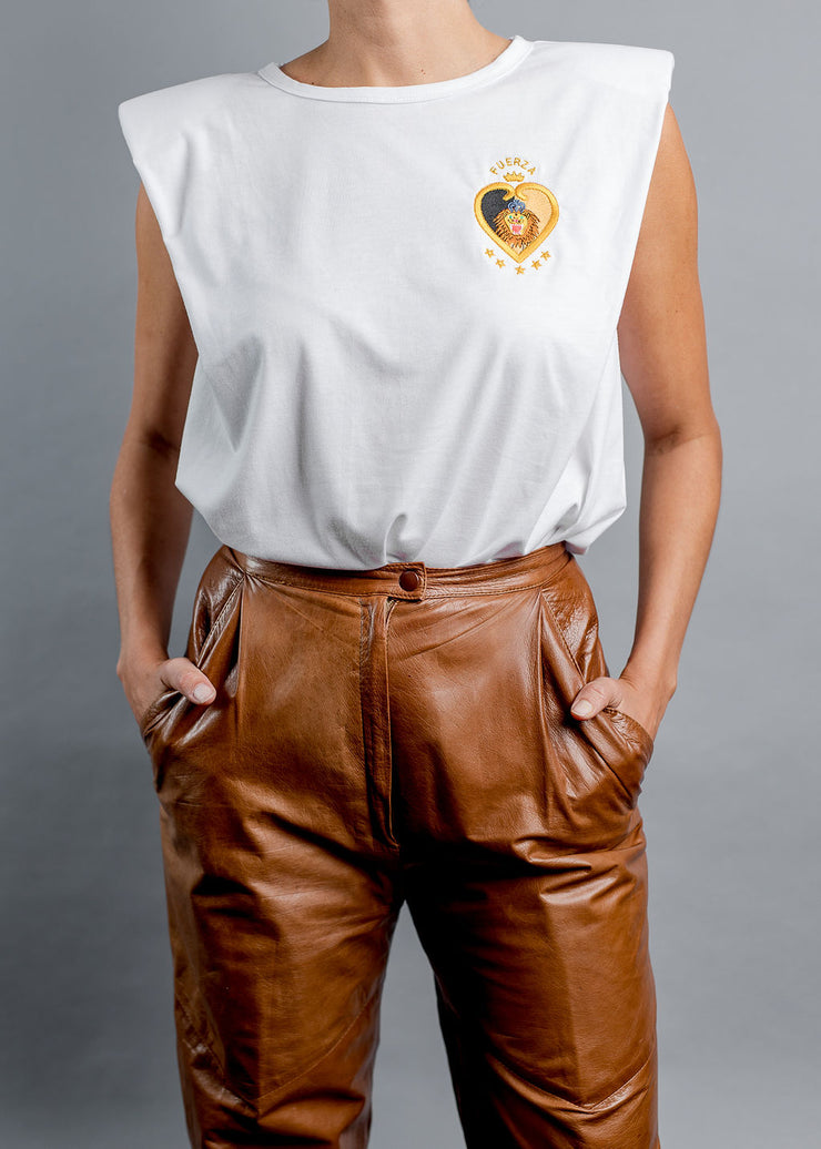 FUERZA-lion embroidered Sleeveless white shirt - Shantall Lacayo