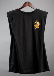 FUERZA-lion embroidered Sleeveless black shirt - Shantall Lacayo