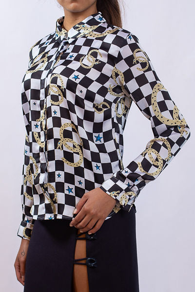 Checker Prin satin shirt - Shantall Lacayo