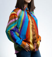Rainbow classic button-up shirt one of a kind print. - Shantall Lacayo