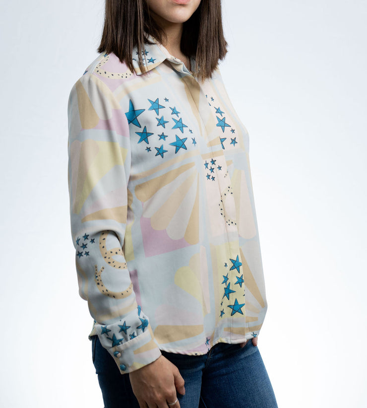 framed stars print CLASSIC BUTTON UP SHIRT - Shantall Lacayo