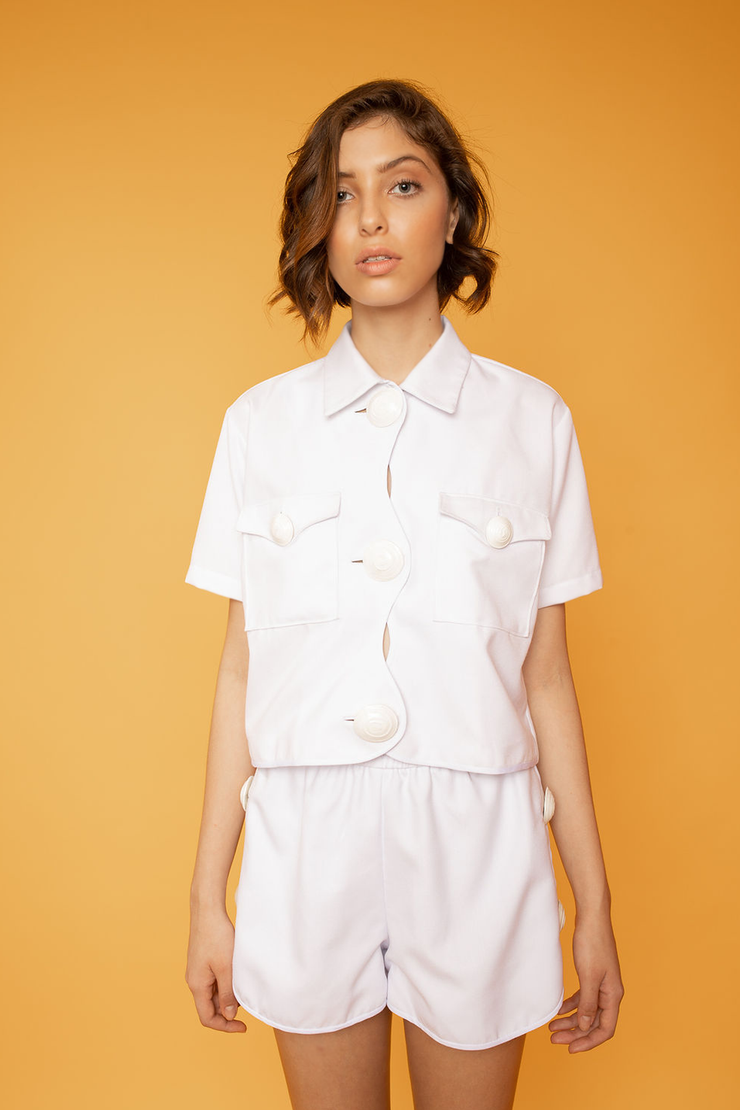 Irregular Button up Short Sleeve Crop Top - Shantall Lacayo