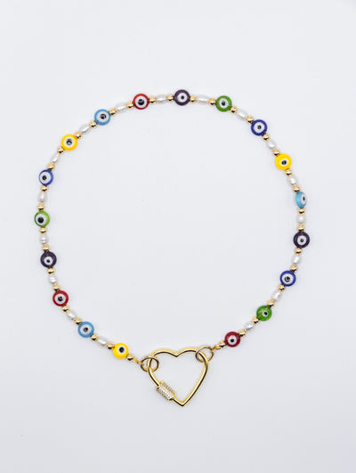 Beaded eyes Chain with heart crystal Heart Carabiner Necklace - Shantall Lacayo