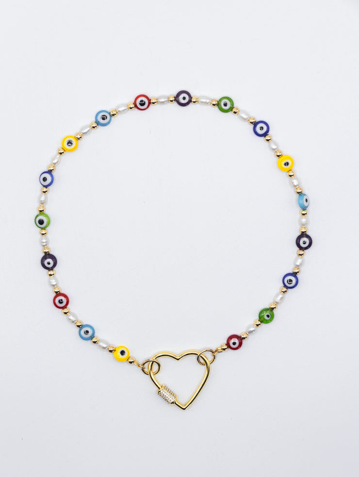 Beaded eyes Chain with heart crystal Carabiner Necklace