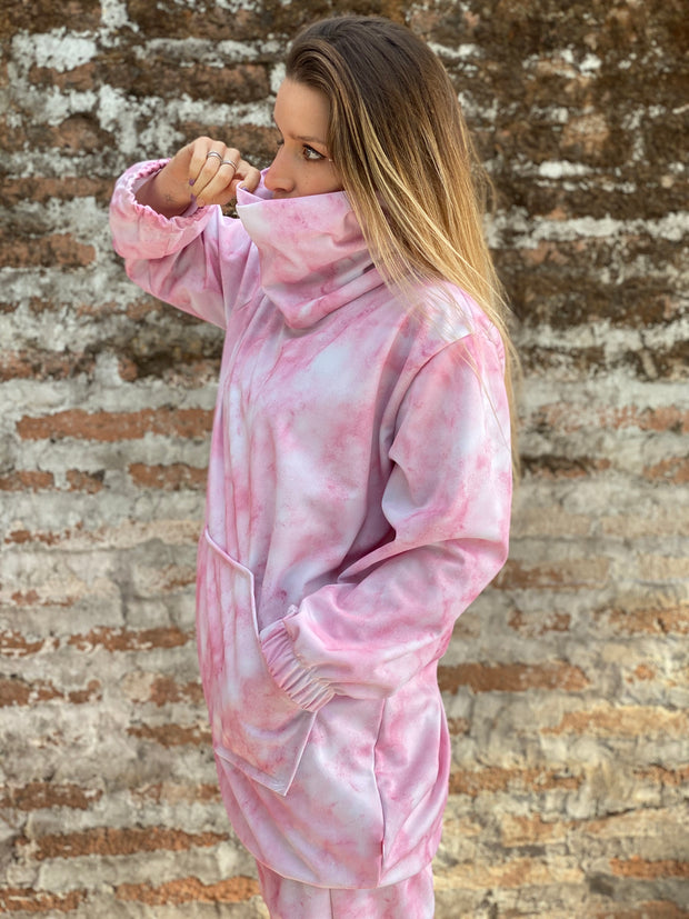 OUTLET POLERON OVERSIZE TIE DYE PINK TALLA S