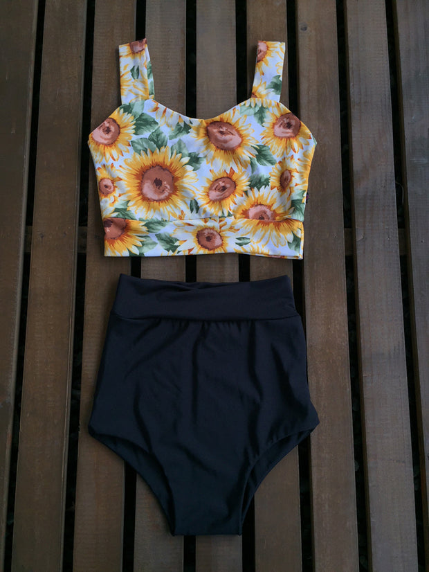 TOP CORAZON SUNFLOWERS + BOTTOMS BLACK A ELECCION