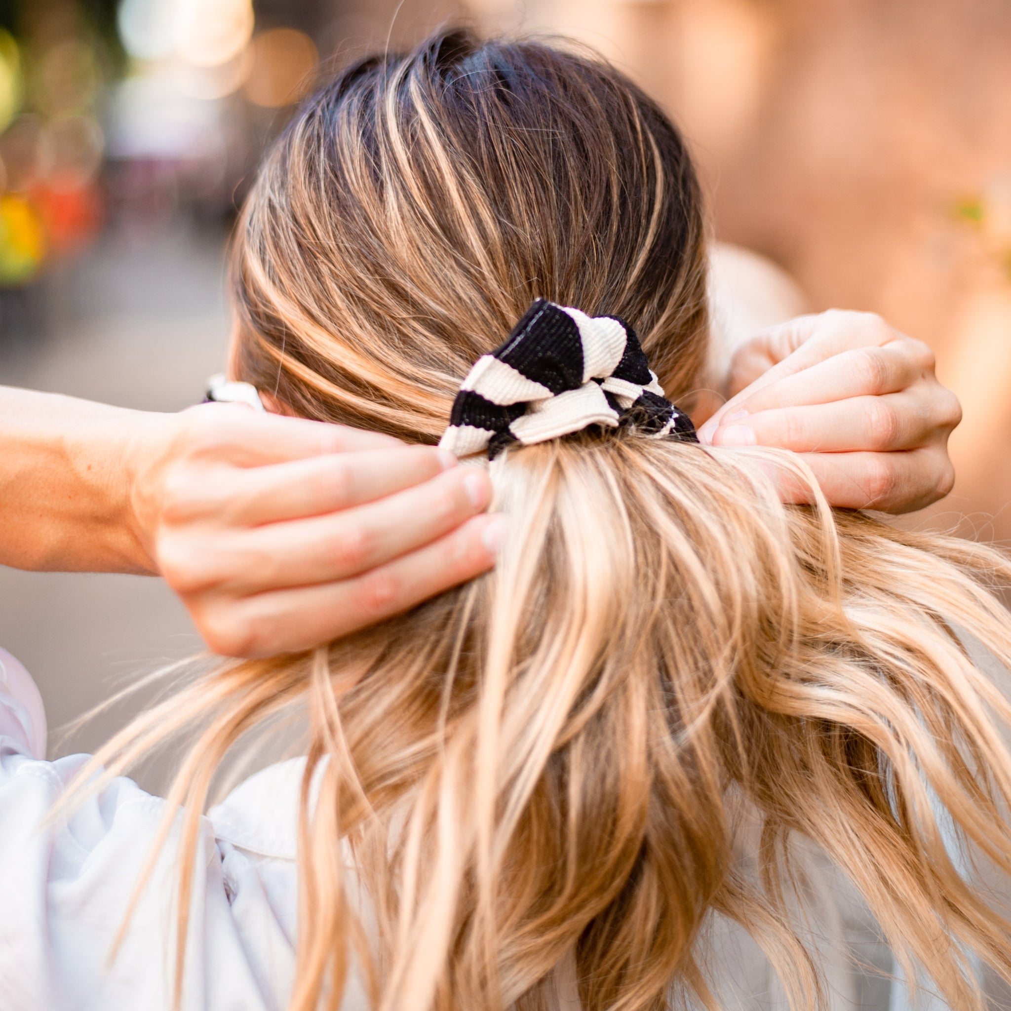 Carmen Scrunchie in Black Stripe