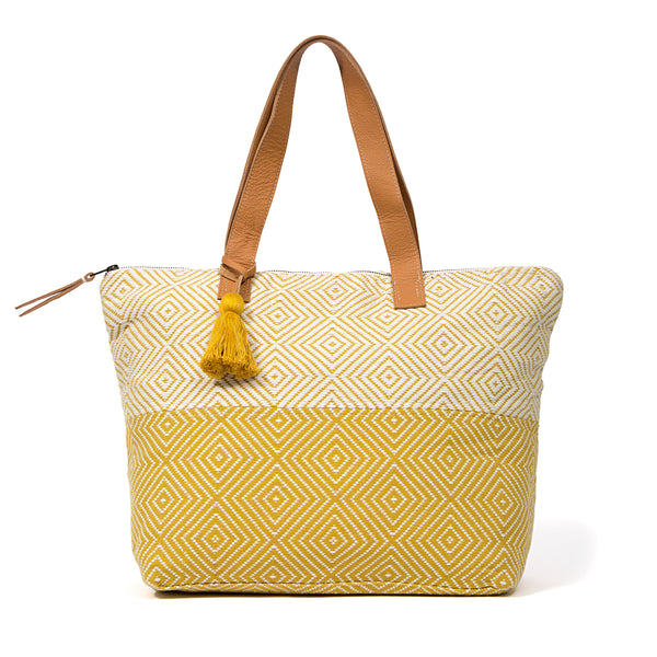 Hand woven Estella Tote with Snap Closure - Ethical Shopping at Mercado Global