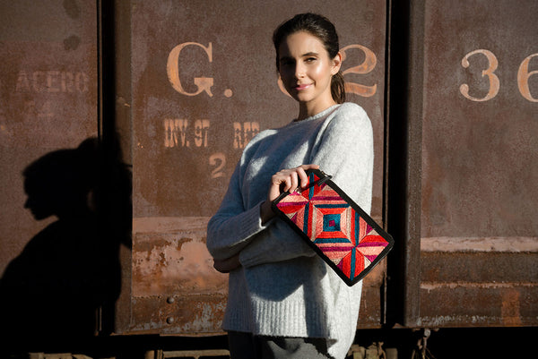 Hand woven Ines Embroidered Clutch - Ethical Shopping at Mercado Global
