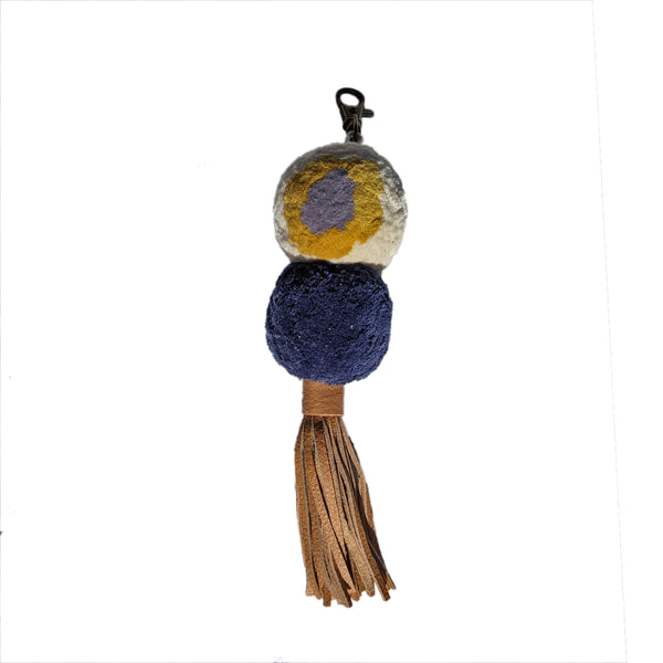 Diana Double Pom Keychain with Leather Tassel