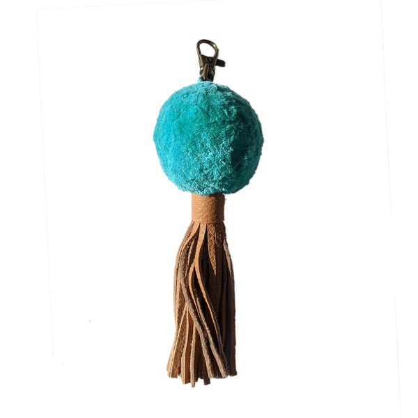 Diana Pom Keychain with Leather Tassel