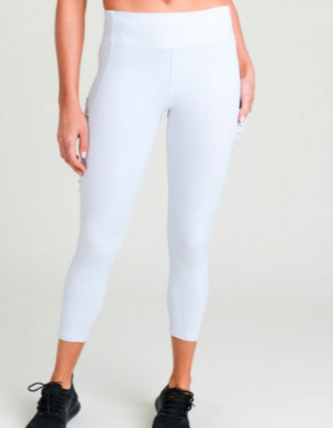 Mazus Moto Splice Ribbed Mesh Leggings - Mono B (Light Blue)