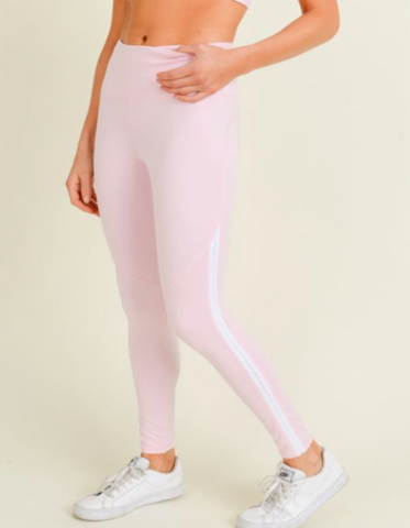 Hibiscus Highwaist Side Braided Trim Leggings - Mono B (Pink)