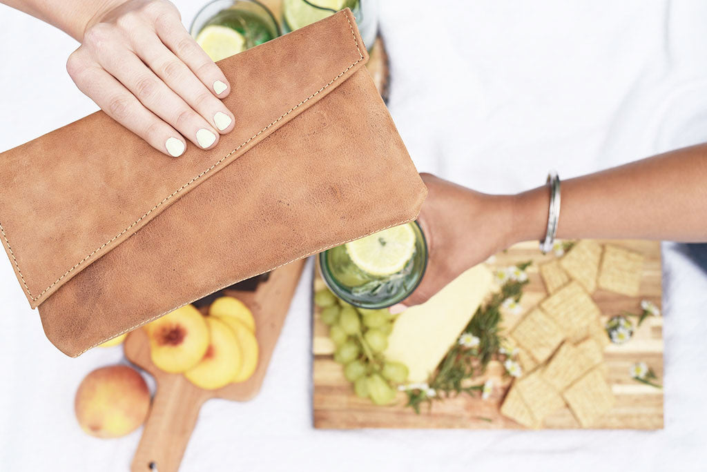 Asymmetric Clutch in Tan