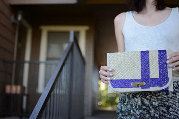 Purple Striped Fair Trade Clutch Purse