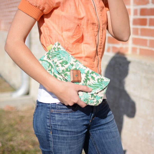 Fair Trade Emerald Floral Clutch