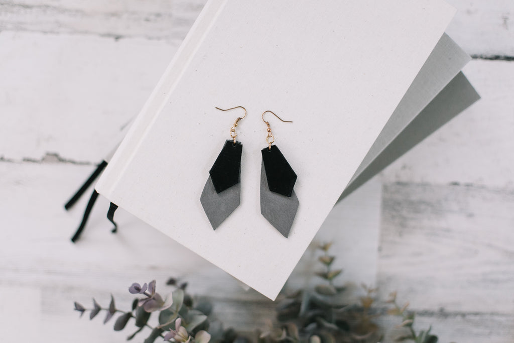 Handcut Leather Earrings in Gray & Black