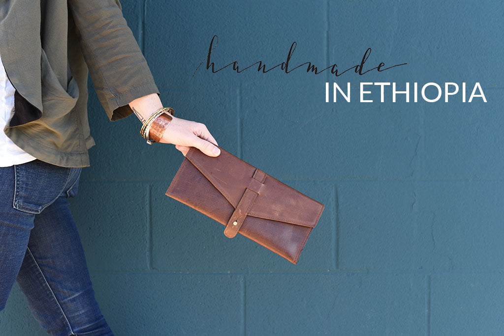 Fair Trade Leather Envelope Clutch
