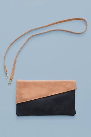 Black & Brown Leather Clutch Purse