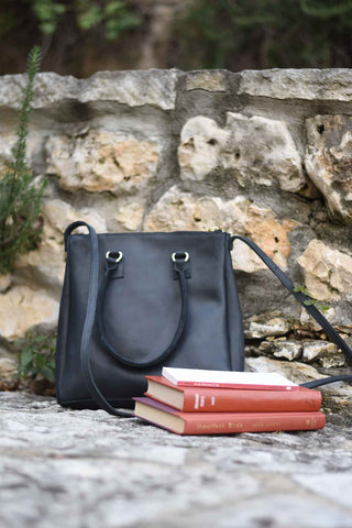 Black Leather Mid Sized Crossbody Purse