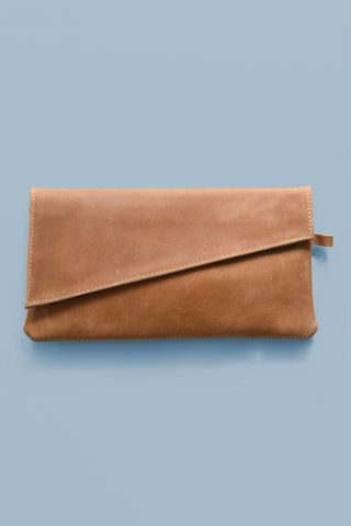 Leather Asymmetric Clutch Purse
