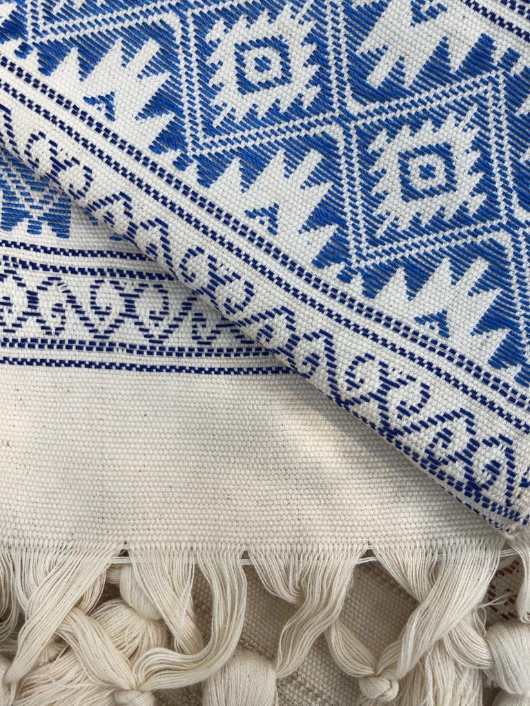 White + Blue Table Runner