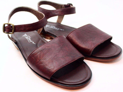 Red Wine Leather Sandals