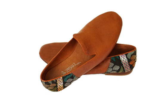 Leather Smoking Slipper w/ Textile Accent