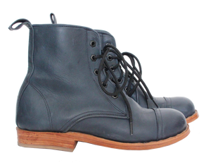 Blue Leather Peace Boot