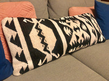 Load image into Gallery viewer, Kilim Lumbar Pillow, Black & White