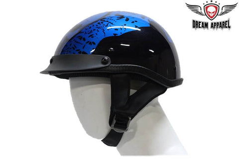 Blue DOT Approved Motorcycle Helmet W/ Boneyard Graphic