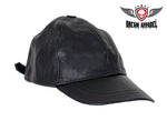 Biker Leather Baseball Cap
