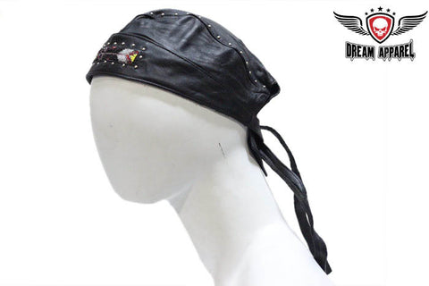 Biker Skull Cap with Beads and Studs
